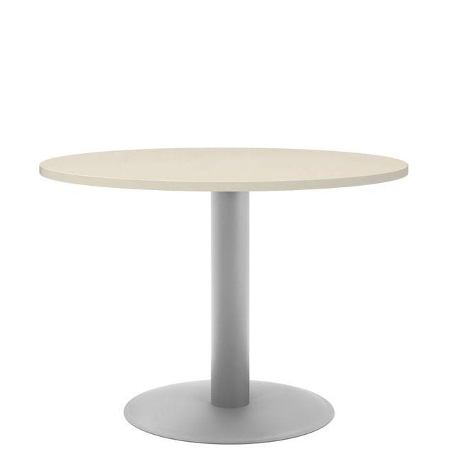 OPTIMA Besprechungstisch | Rund, Gestell Silber, Ø 1000 mm, Ahorn