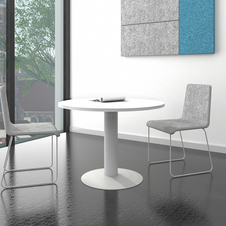 OPTIMA runder Besprechungstisch Esstisch Küchentisch Tisch Weiß Rund ...