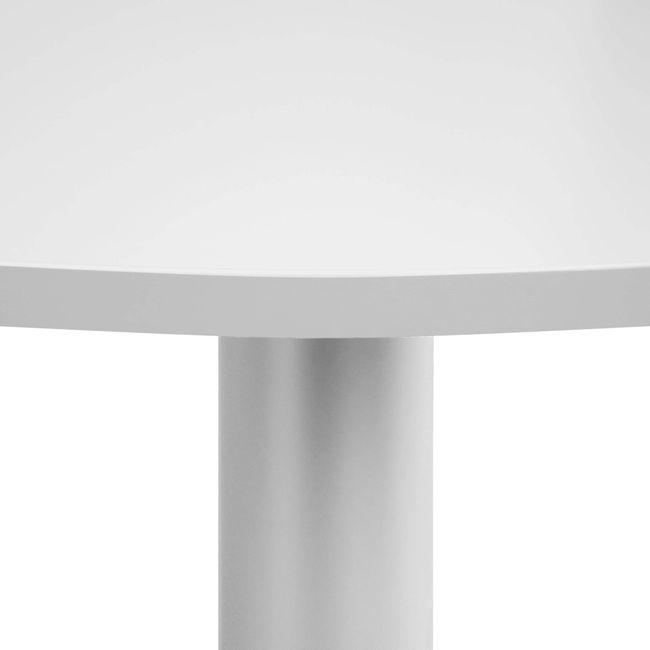 OPTIMA Besprechungstisch | Rund, Gestell Silber, Ø 1000 mm, Perlgrau