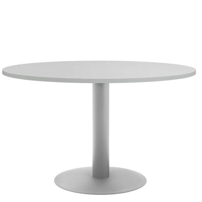OPTIMA Besprechungstisch | Rund, Gestell Silber, Ø 1200 mm, Perlgrau