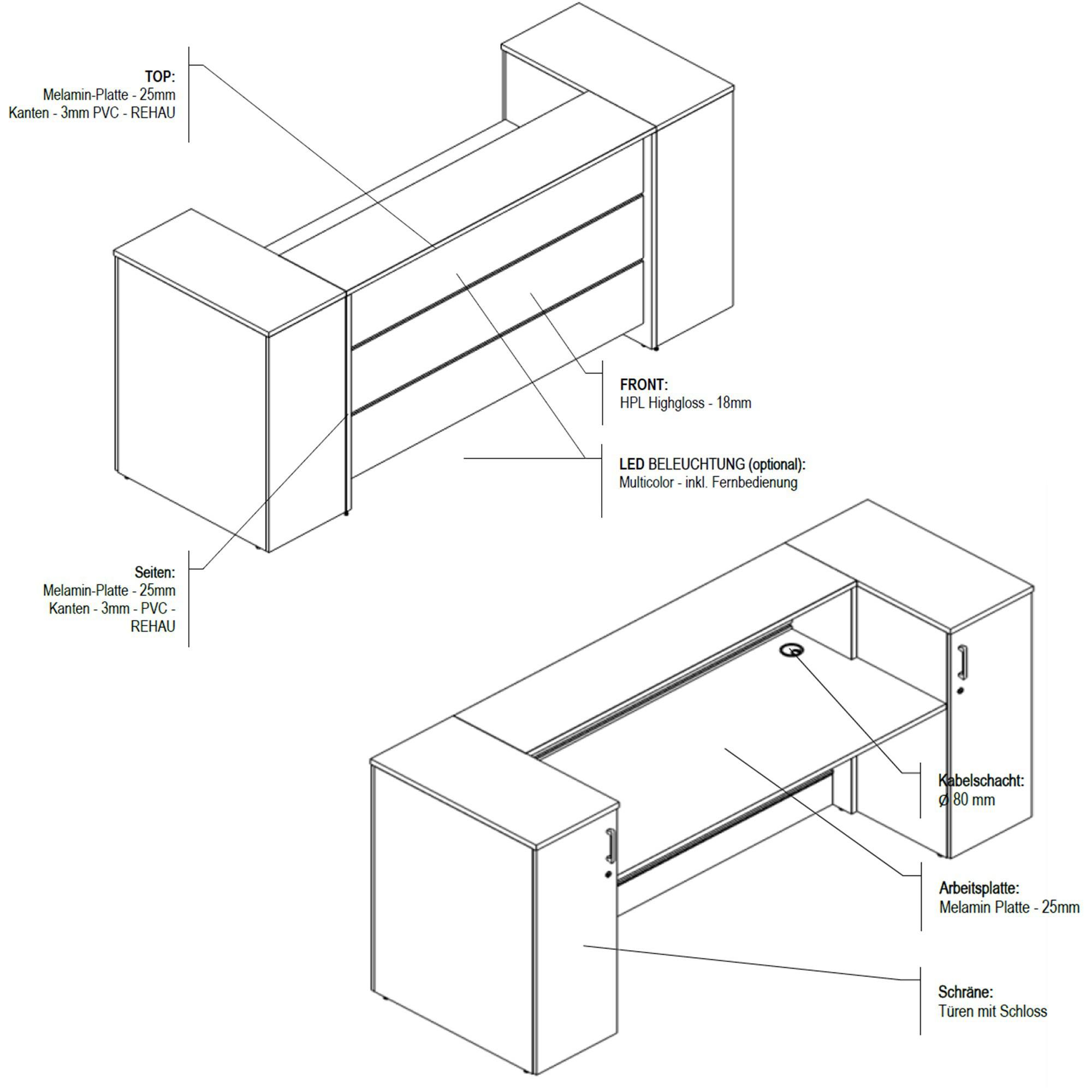 Empfangstheke Rezeption Empfangsstresen weiß Sofort lieferbar 2,2 Meter NOVUM