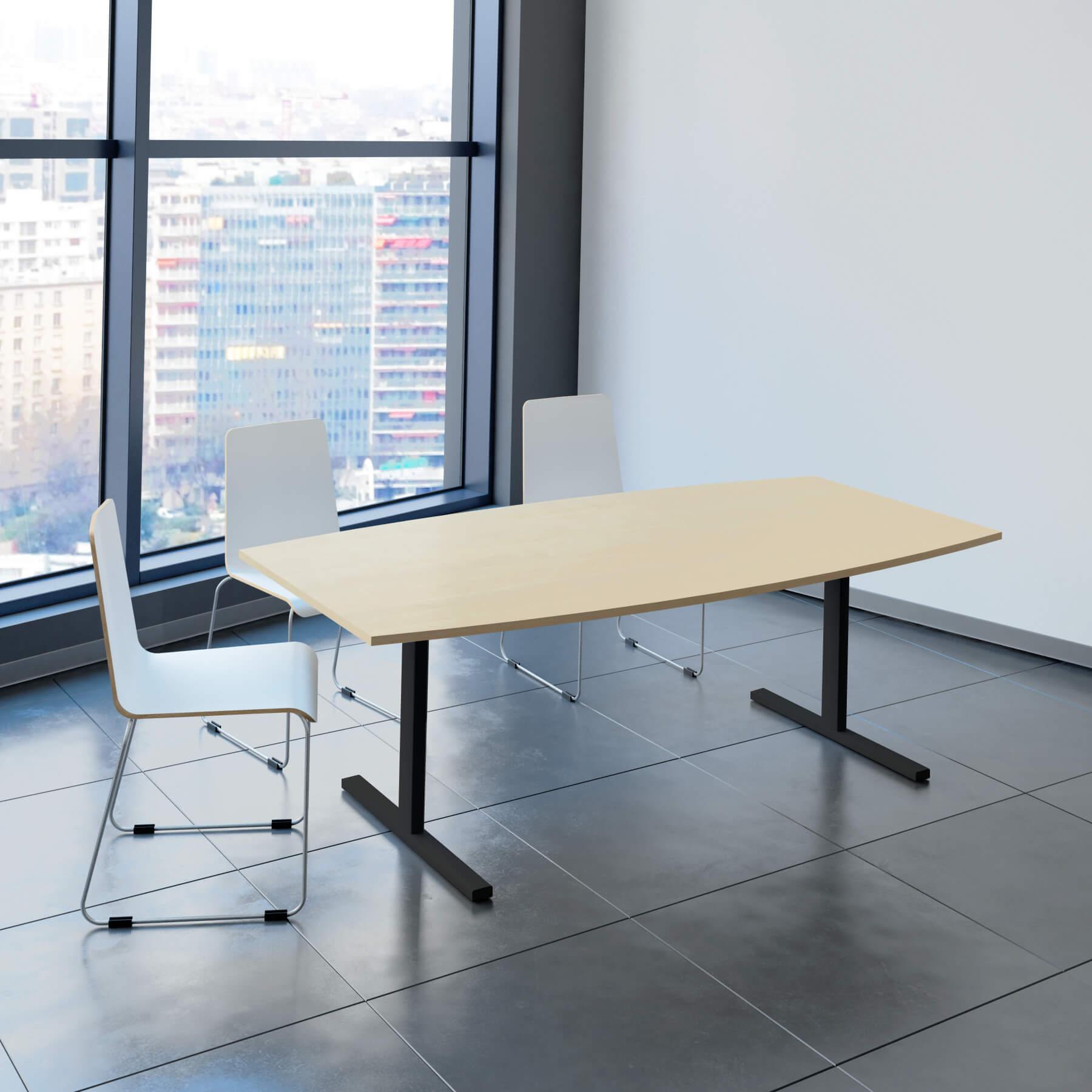 EASY Konferenztisch Bootsform 200x100 cm Ahorn Besprechungstisch Tisch