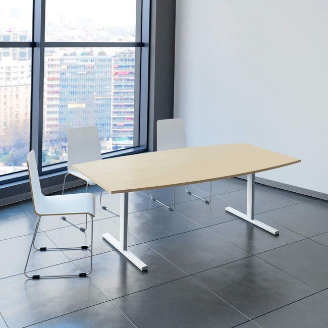 EASY Konferenztisch | Bootsform, 2000 x 1000 mm (6 - 8 Personen), Ahorn
