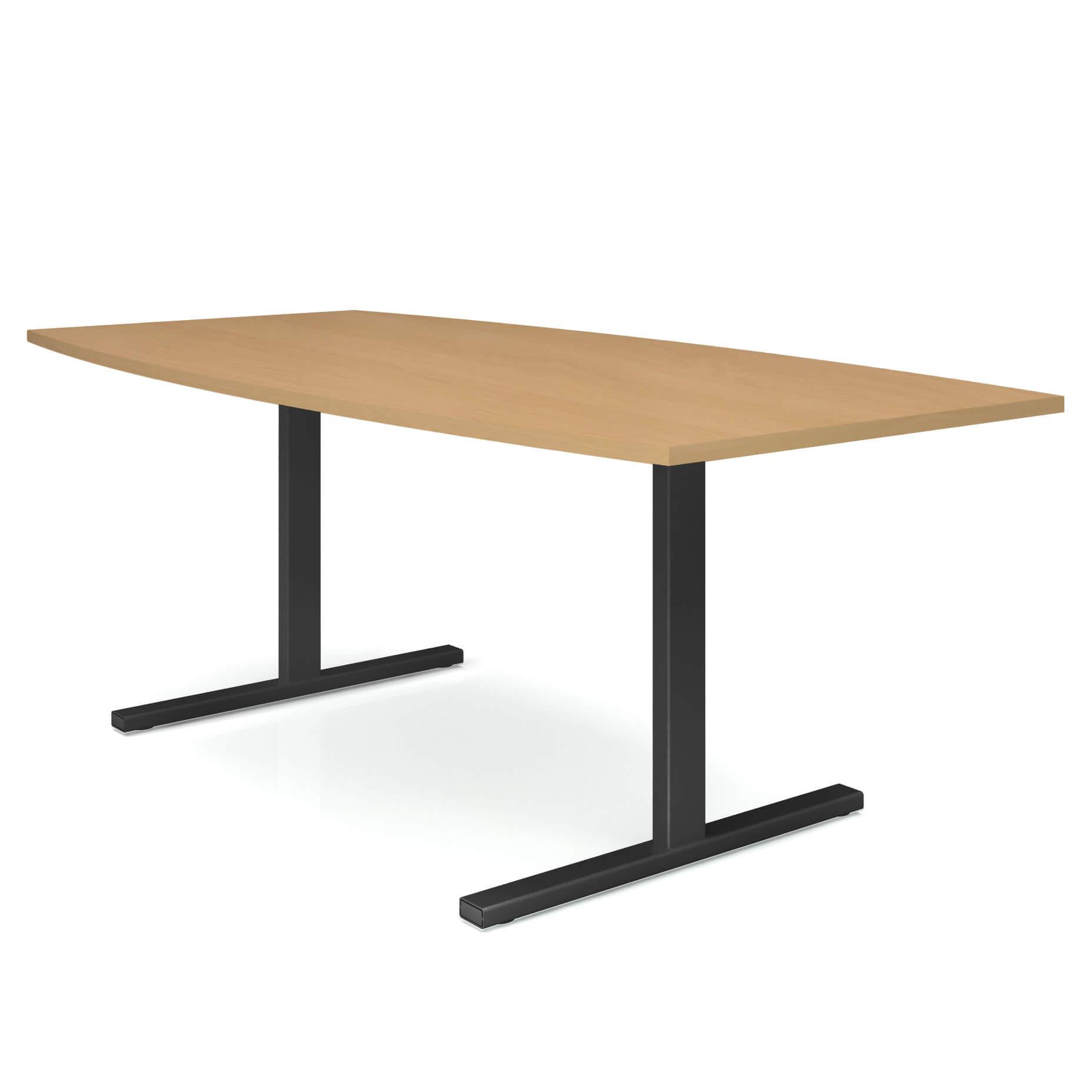 EASY Konferenztisch Bootsform 200x100 cm Buche Besprechungstisch Tisch