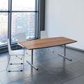 EASY Konferenztisch | Bootsform, 2000 x 1000 mm (6 - 8 Personen), Nussbaum