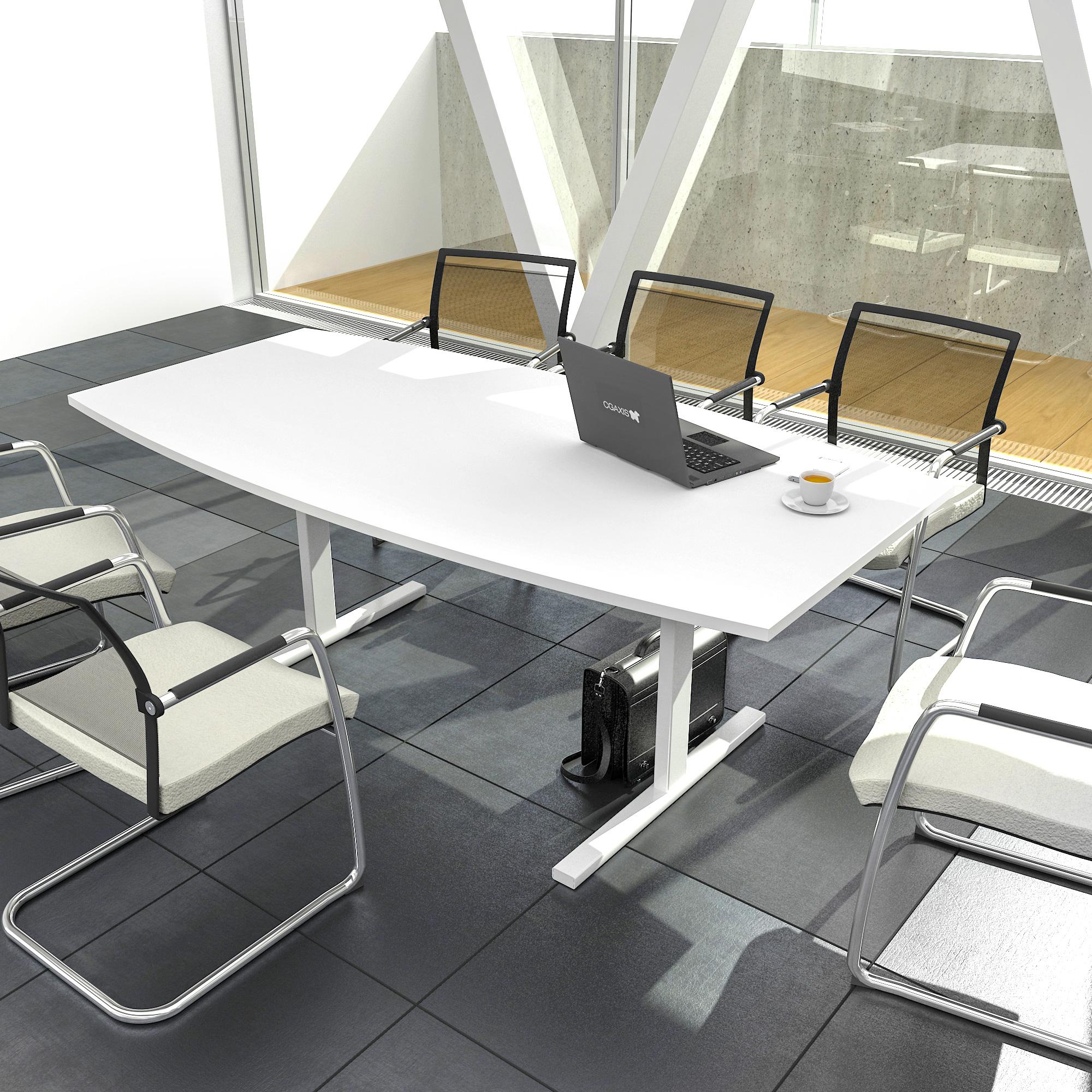 EASY Konferenztisch Bootsform 180x100 cm Weiß Besprechungstisch Tisch