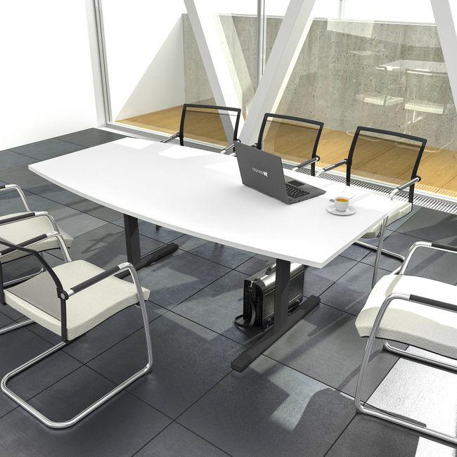 Konferenztisch Bootsform EASY 1.800 x 1.000 mm Weiß 6 - 8 Personen  – Bild 3