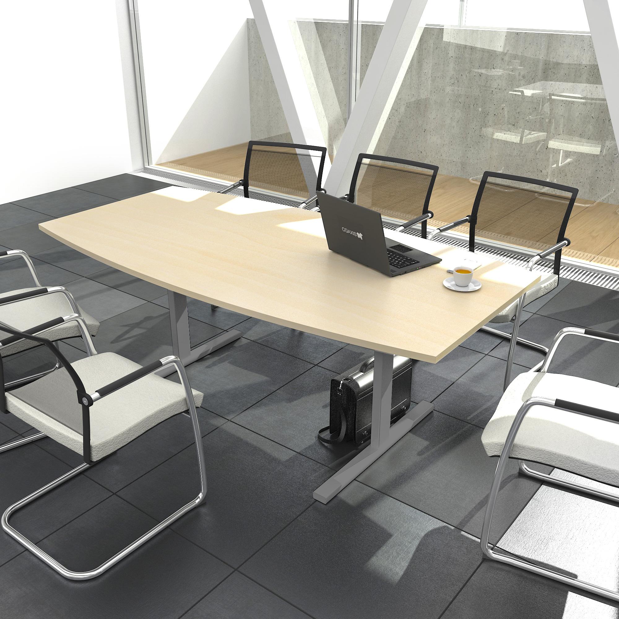 EASY Konferenztisch Bootsform 180x100 cm Ahorn Besprechungstisch Tisch