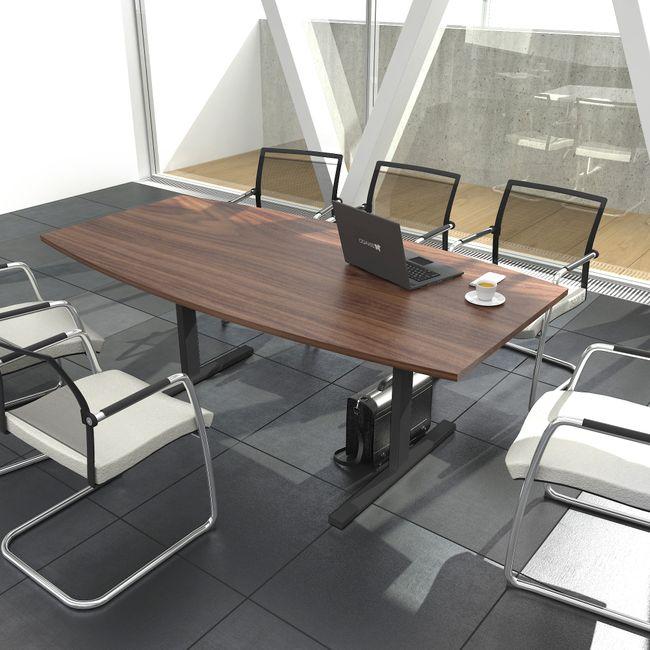 EASY Konferenztisch | Bootsform, 1800 x 1000 mm (6 - 8 Personen), Nussbaum