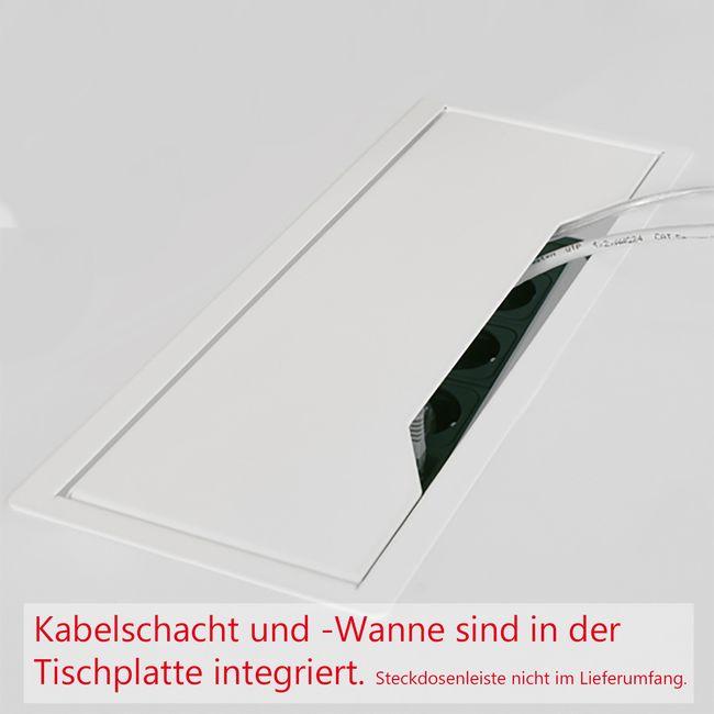 Konferenztisch NOVA 3.200 x 1.640 mm Weiß Elektrifizierung 10-12 Personen  – Bild 6