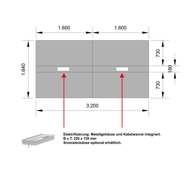 Konferenztisch NOVA 3.200 x 1.640 mm Weiß Elektrifizierung 10-12 Personen  – Bild 5