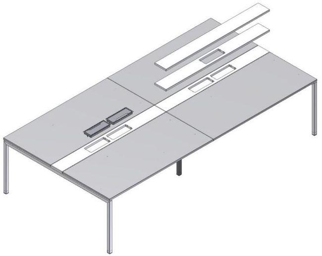Konferenztisch NOVA 3.200 x 1.640 mm Weiß Elektrifizierung 10-12 Personen  – Bild 9