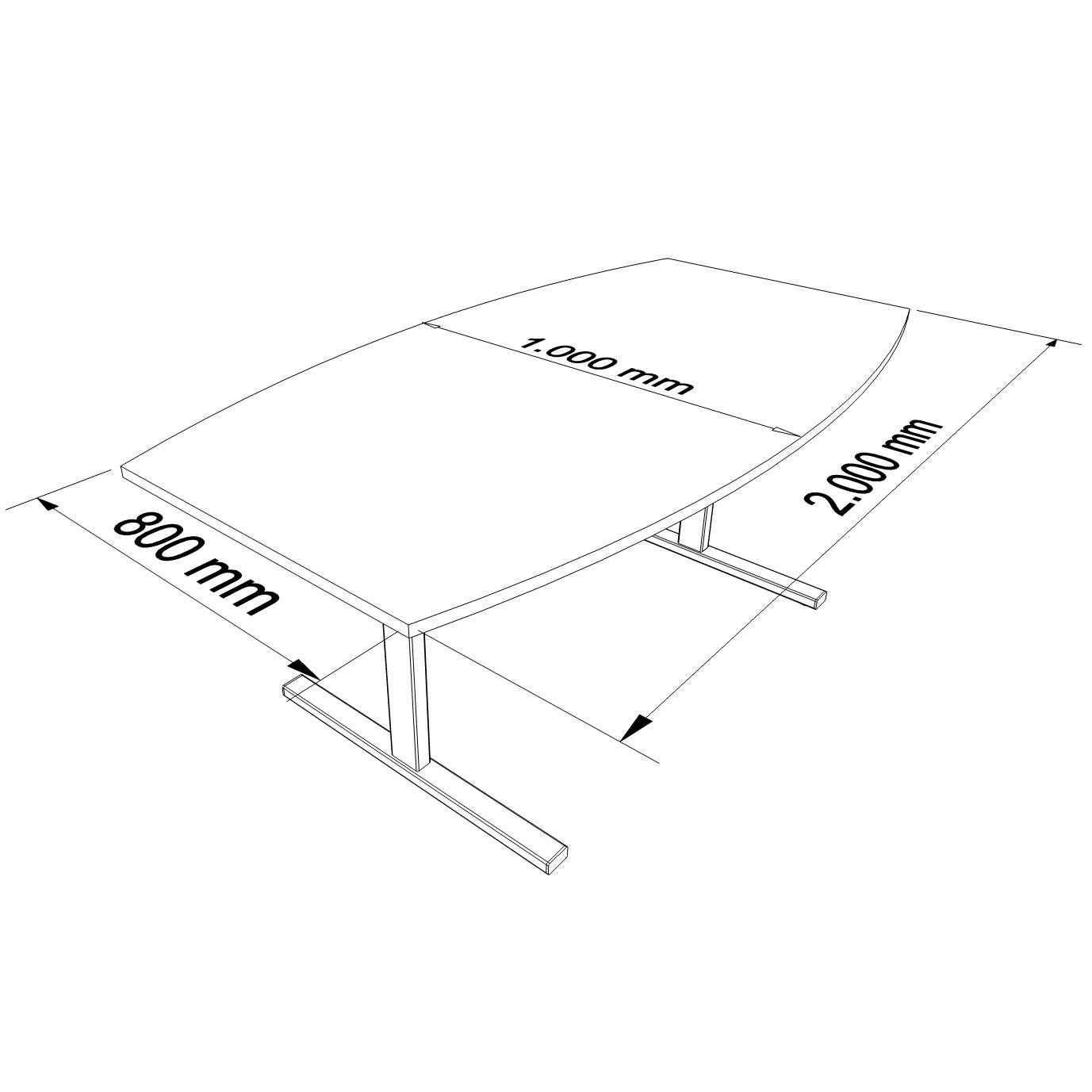 EASY Konferenztisch Bootsform 200x100 cm Wenge Besprechungstisch Tisch