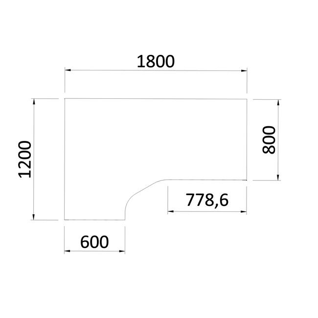 Winkelschreibtisch links NOVA 1.800 x 1.200 mm Weiß – Bild 4
