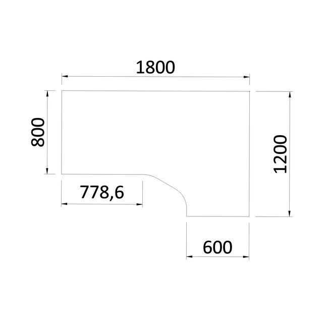 Winkelschreibtisch rechts NOVA 1.800 x 1.200 mm Weiß – Bild 4