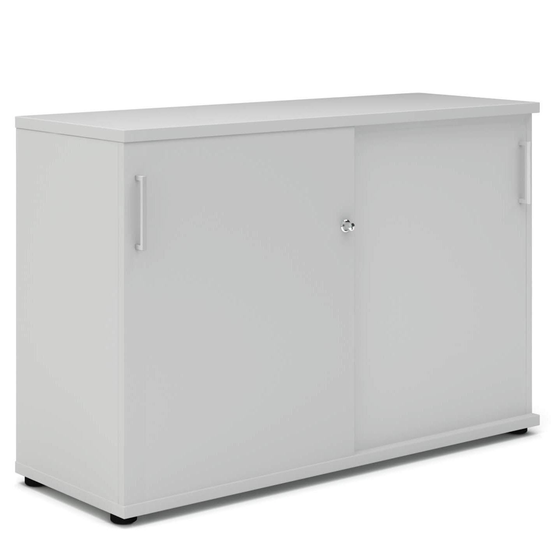 UNI Schiebetürenschrank Sideboard abschließbar 1,2M breit Lichtgrau Aktenschrank