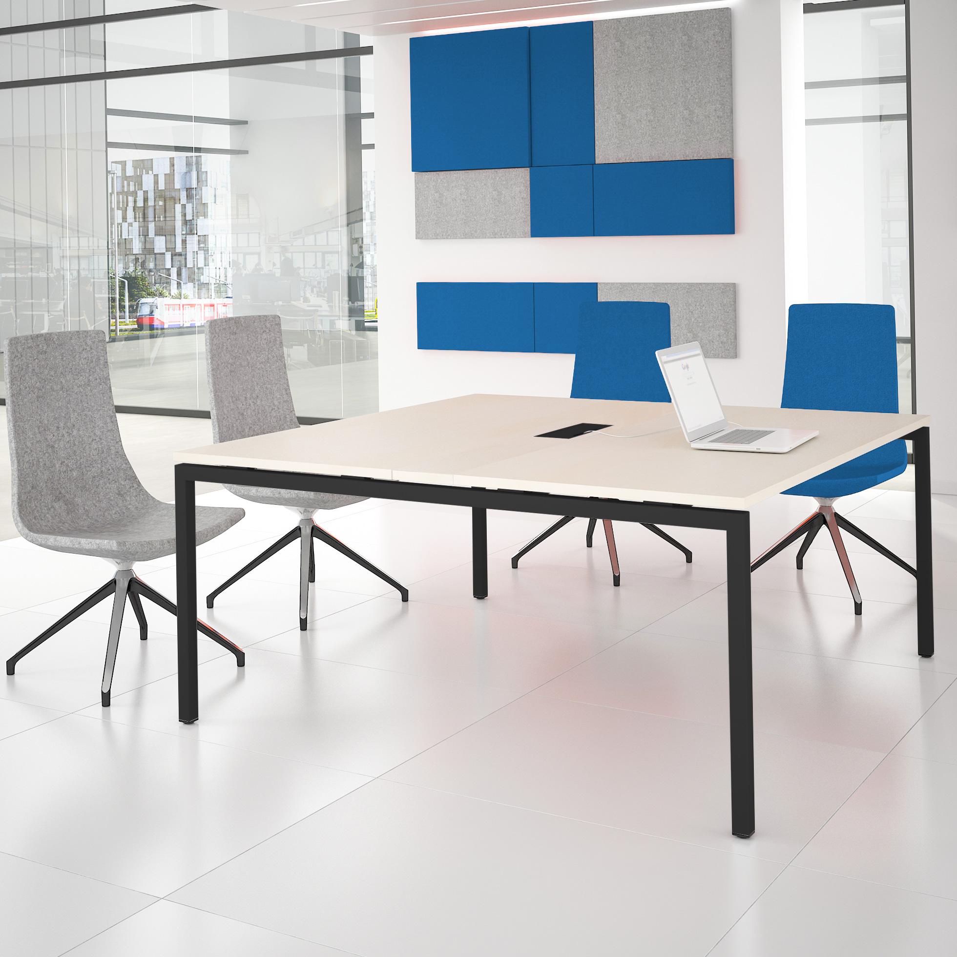 NOVA Konferenztisch 160x164cm Ahorn mit ELEKTRIFIZIERUNG Besprechungstisch Tisch