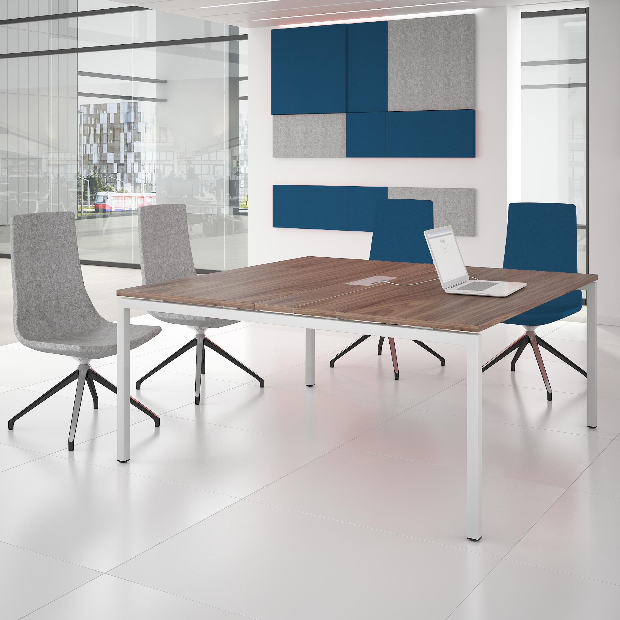 NOVA Konferenztisch 160x164cm Nussbaum mit ELEKTRIFIZIERUNG Besprechungstisch Tisch