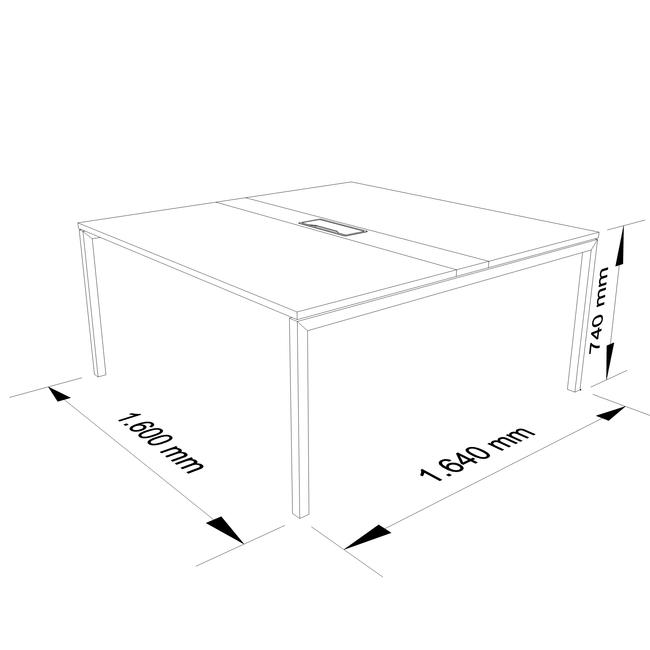 Konferenztisch NOVA 1.600 x 1.640 mm Nussbaum Elektrifizierung bis zu 8 Personen  – Bild 7