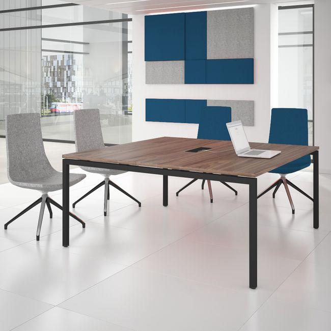 Konferenztisch NOVA 1.600 x 1.640 mm Nussbaum Elektrifizierung bis zu 8 Personen  – Bild 3