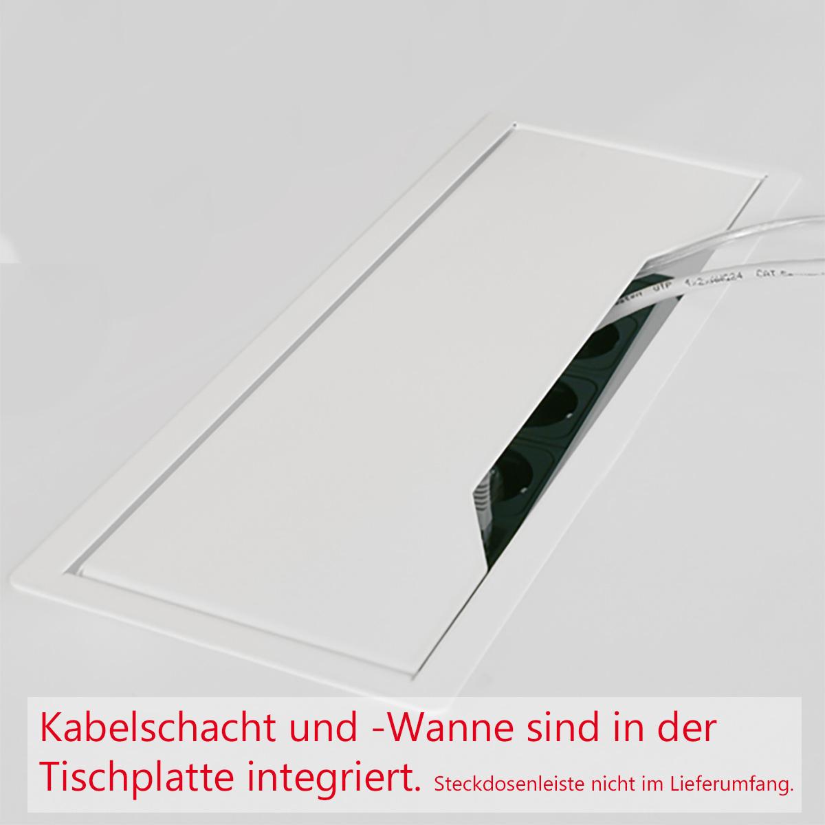 NOVA Konferenztisch 160x164cm Weiß mit ELEKTRIFIZIERUNG Besprechungstisch Tisch