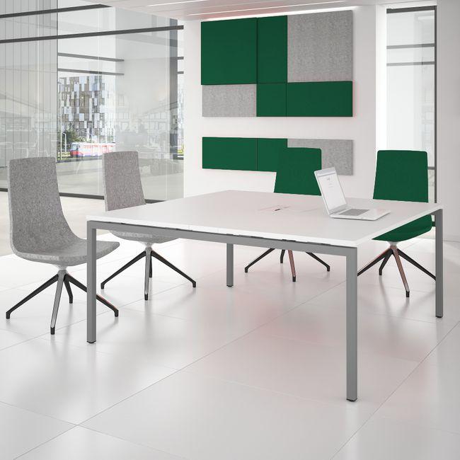 Konferenztisch NOVA 1.600 x 1.640 mm Weiß Elektrifizierung bis zu 8 Personen  – Bild 1