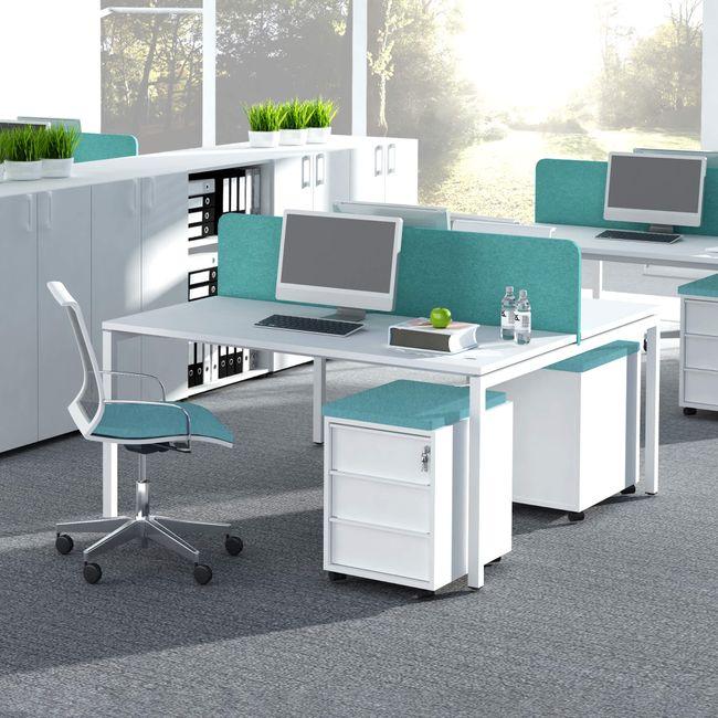 2er Team-Schreibtisch NOVA U 1.600 x 1.640 mm Weiß – Bild 1