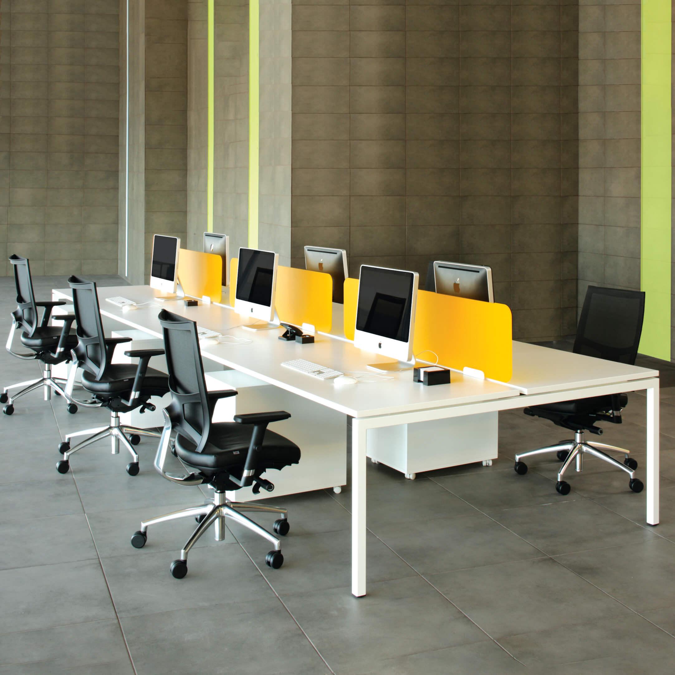 NOVA 4er Gruppenarbeitsplatz Weiß Bench Schreibtisch Doppel-Arbeitsplatz