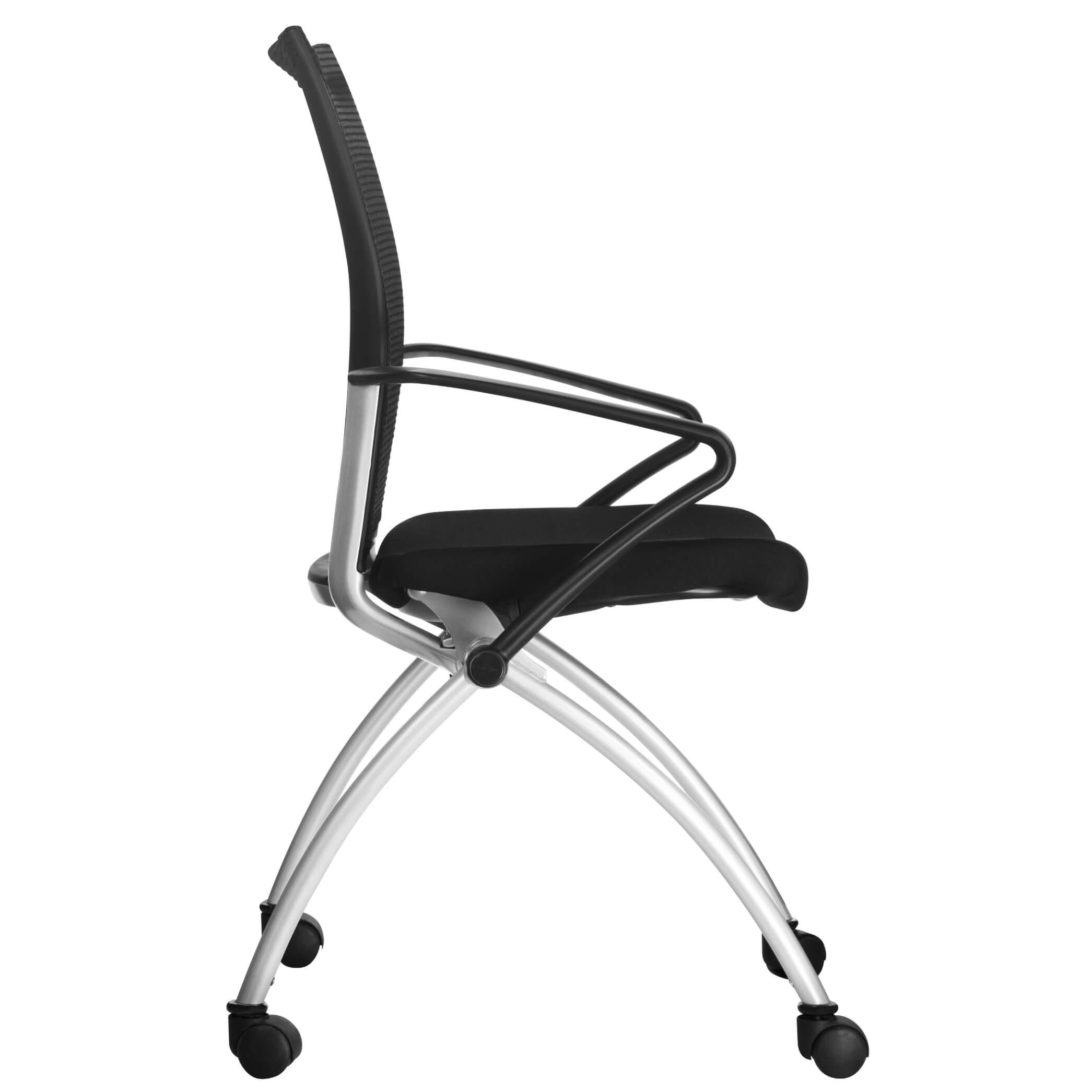 Besucherstuhl Objektstuhl Stuhl auf Rollen klappbar Klappsitz schwarz VIENA