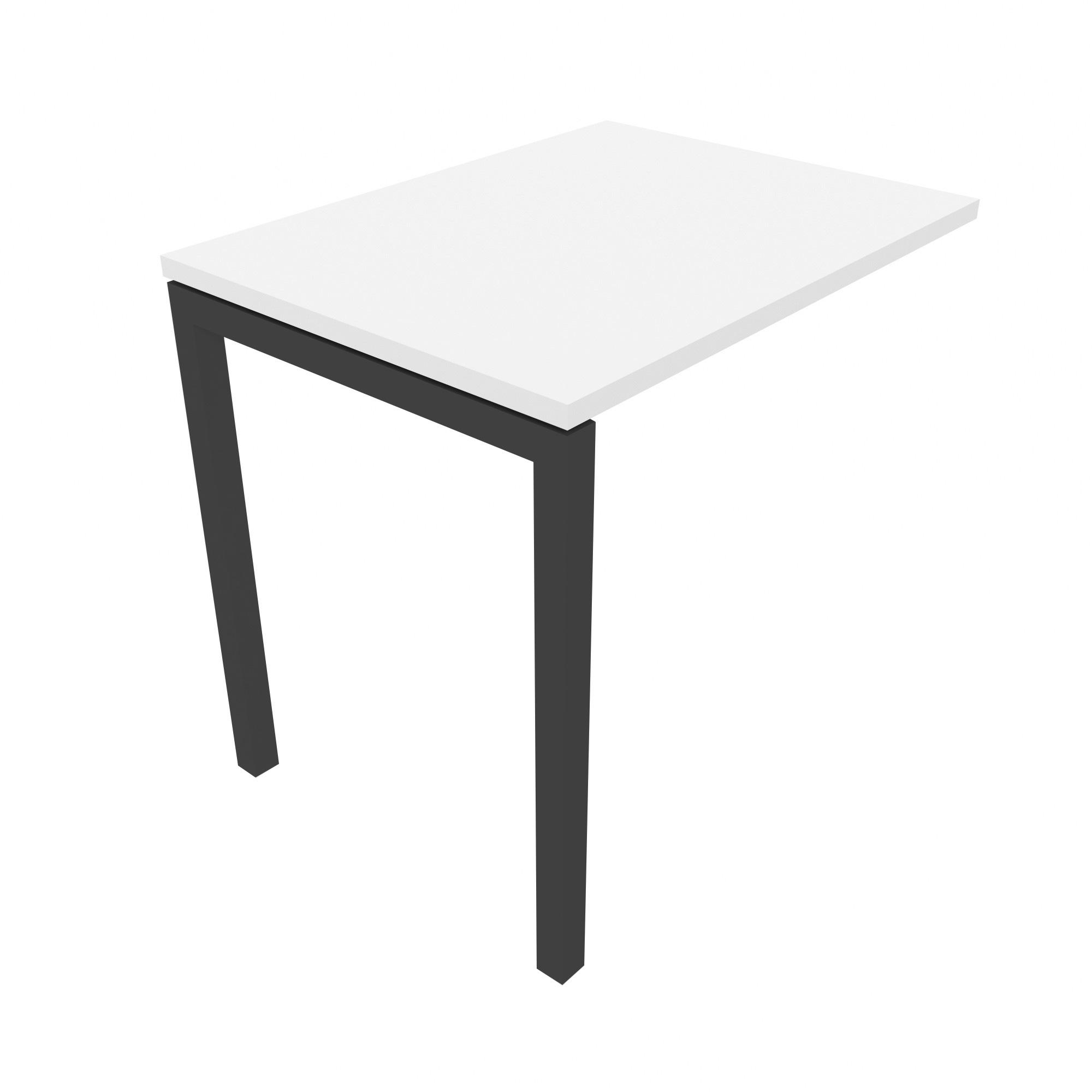 Anbau-Schreibtisch eckig 80 x 60 cm in Weiß NOVA U