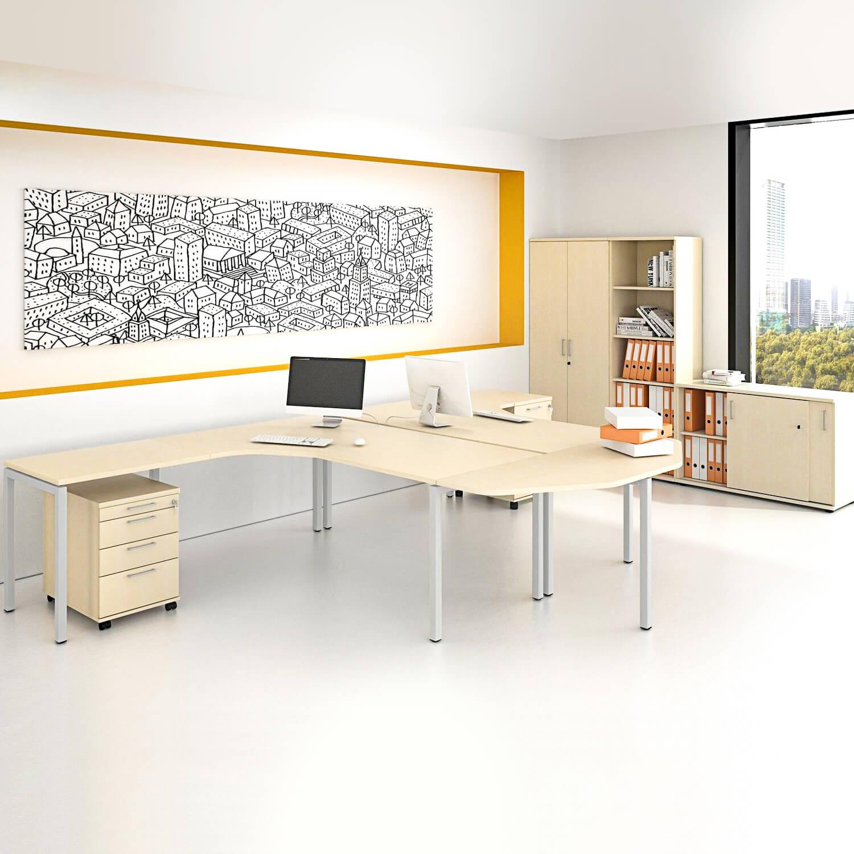 PROFI-Komplettbüro NOVA Frankfurt Doppelarbeitsplatz Ahorn Büro