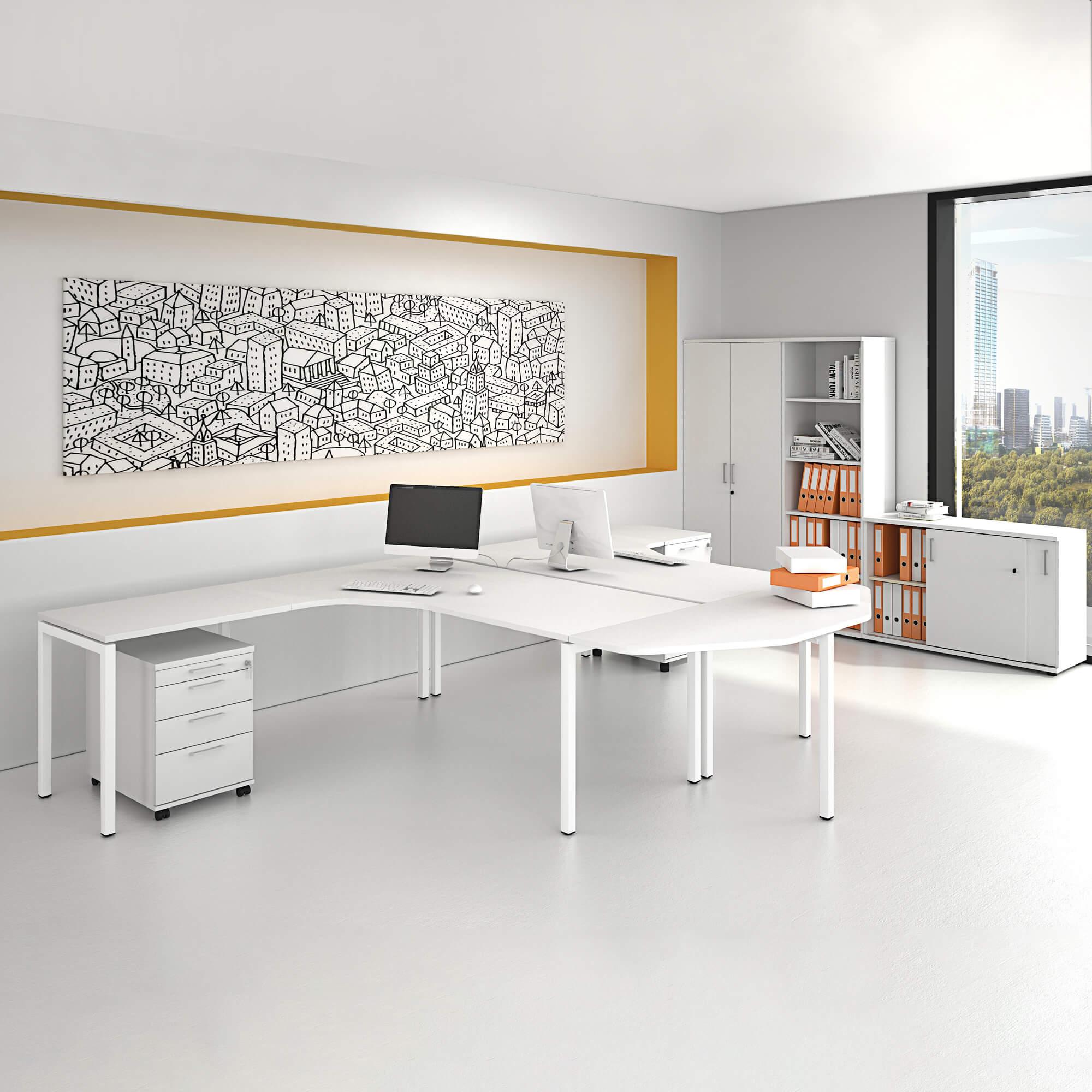 PROFI-Komplettbüro NOVA Frankfurt Doppelarbeitsplatz Weiß Büro