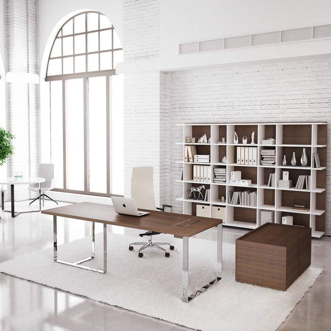 Chefbüro PLANA Apollon ein Nussbaum Komplett Büro Komplettset
