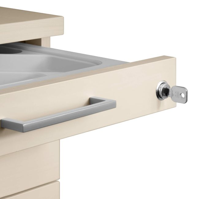 OPTIMA Rollcontainer   3 Schubladen + 1 Kleinteilefach, 600 mm tief, Ahorn
