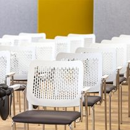 Besucherstuhl WAIT gepolsterte Sitzfläche Rollen