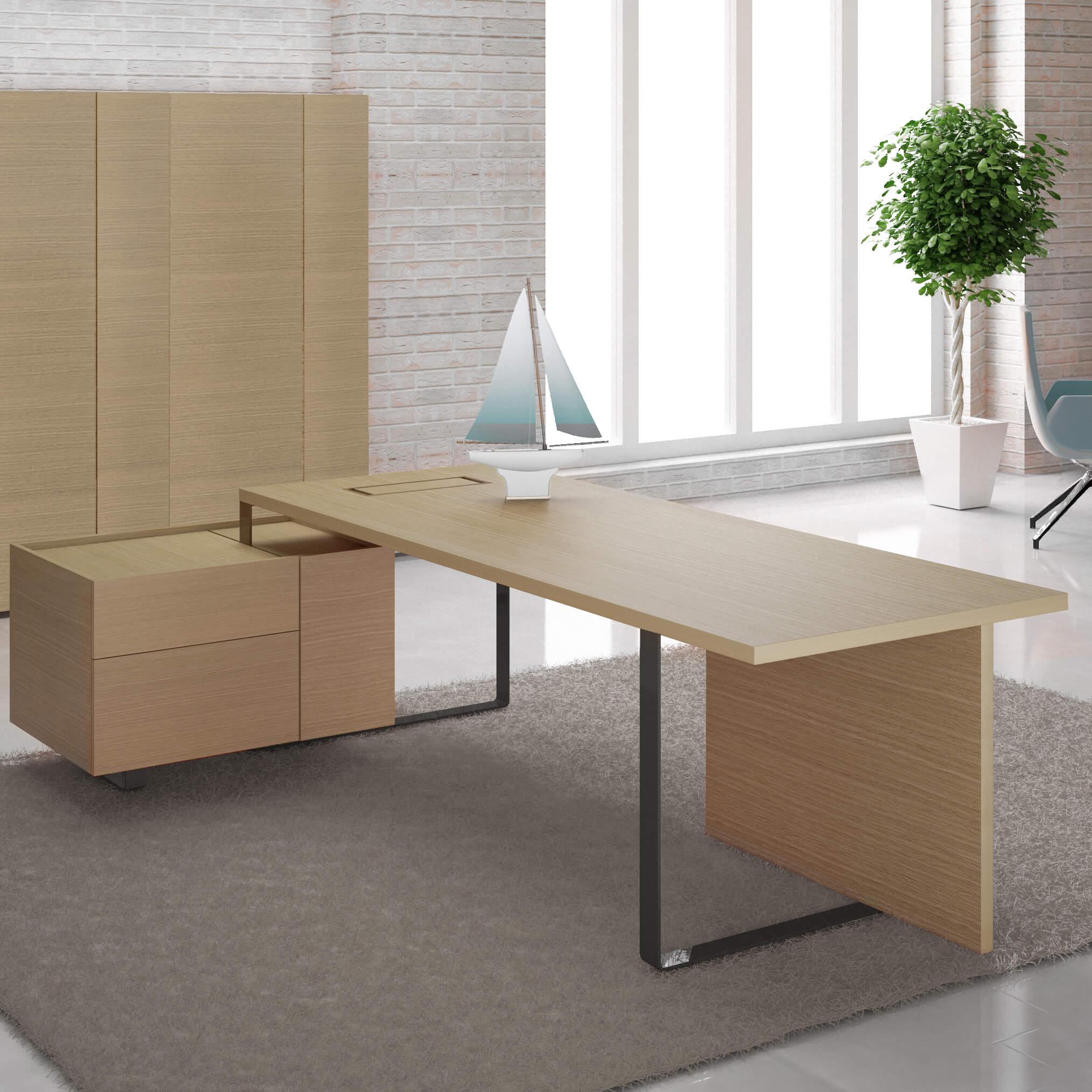 Chefbüro PLANA Maia in Eiche/Bronze Komplettbüro Komplettset Büro Set