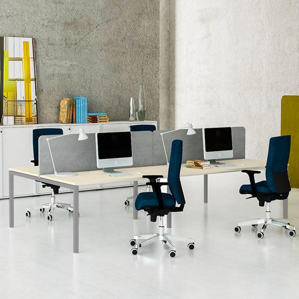 NOVA 4er Gruppenarbeitsplatz Ahorn Bench Schreibtisch Doppel-Arbeitsplatz