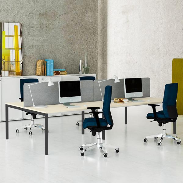 4er Team-Schreibtisch NOVA U 3.200 x 1.640 mm Ahorn – Bild 3