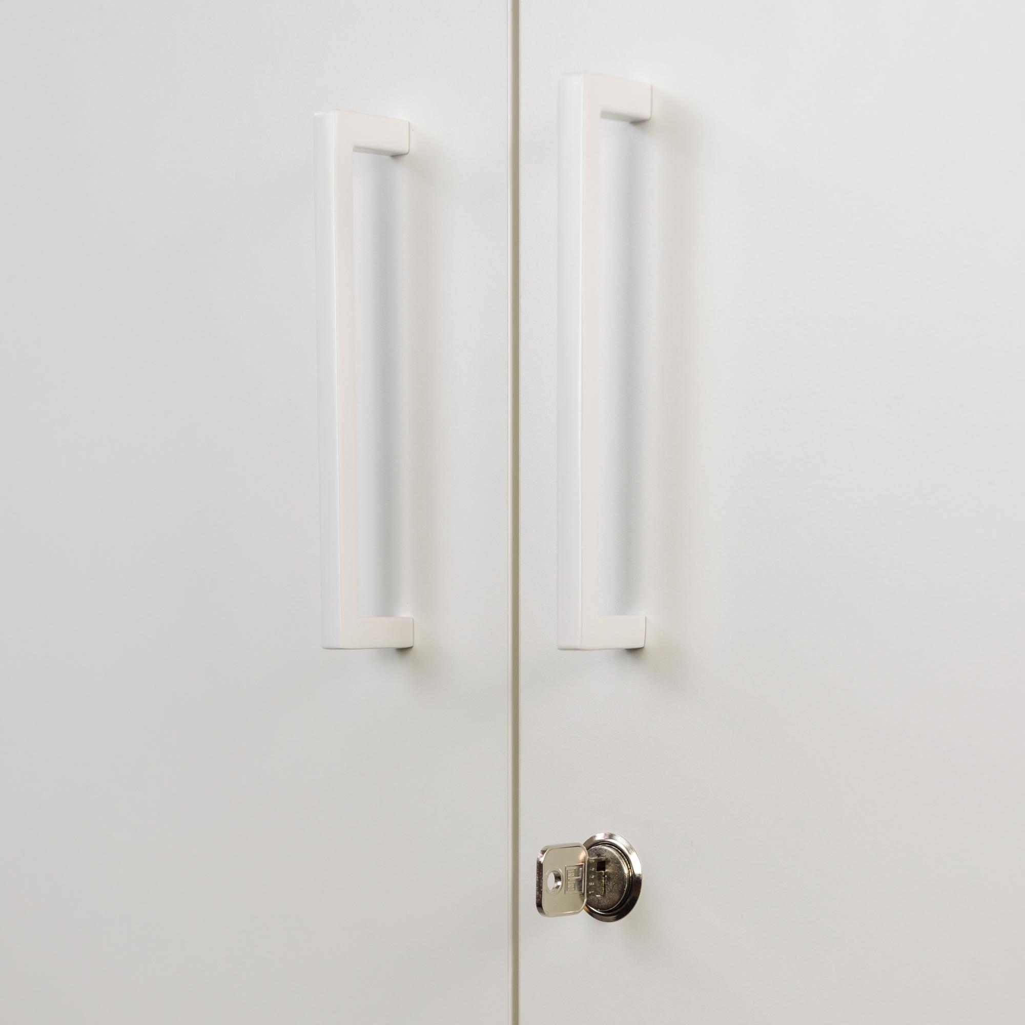 PROFI Schrankwand abschließbar Schrank Büroschrank Flügeltürenschrank Kombischrank 5 OH Weiß