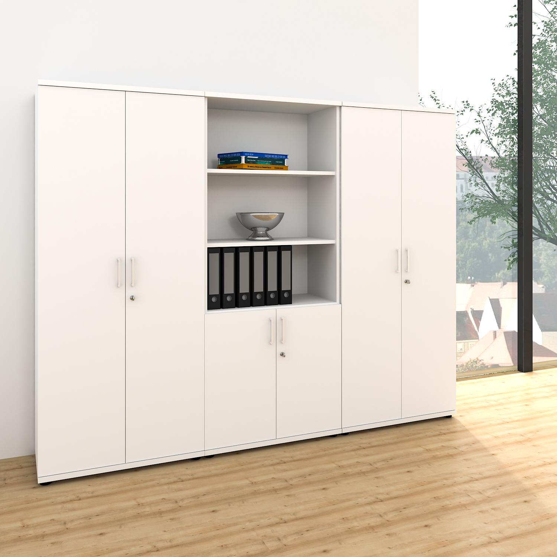 Büroschrank weiß  Schrankwand UNI 5 OH, (BxH) 2.400 x 1.897 mm, Weiß Büroschränke ...