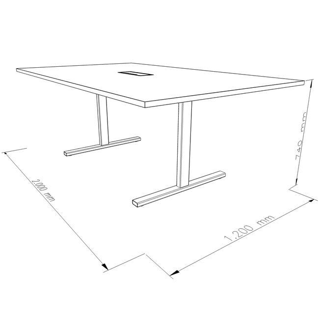 Konferenztisch T-EASY 2.000 x 1.200 mm Elektrifizierung 8-10 Personen  – Bild 4