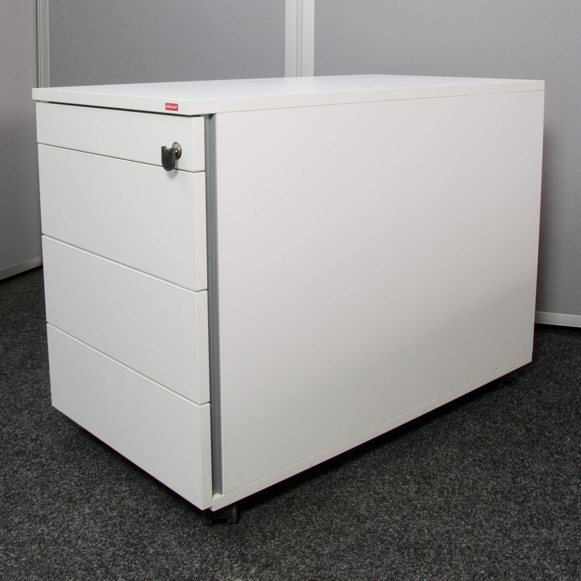 Mikomax rollcontainer 800 mm tief in wei rollschrank b ro for Buro rollcontainer
