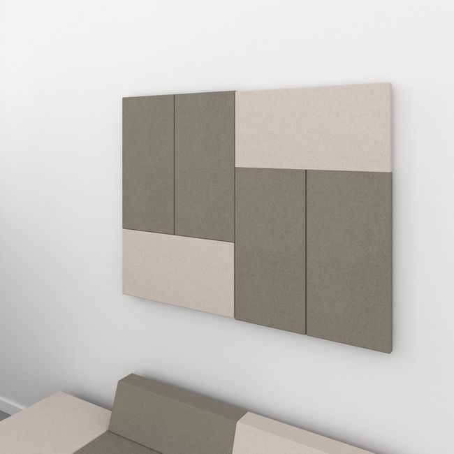 MODUS Akustik-Wandpaneel | Wandverkleidung, Komplettsystem, Wollbezug VELITO - Beige / Braun