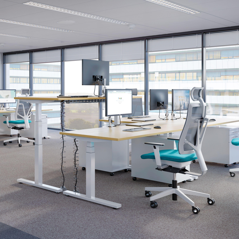 Elektrisch höhenverstellbar Schreibtisch eModel 90 cm tief in vielen Farben Motortisch motorisch höhenverstellbar