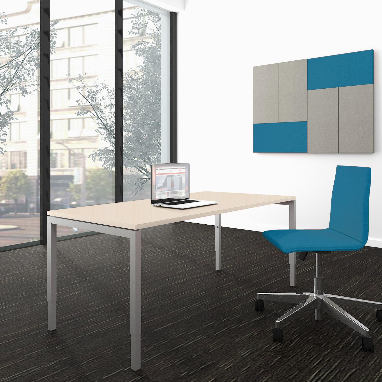 NOVA UH Schreibtisch manuell höhenverstellbar 160x80cm Ahorn Bürotisch Computertisch Büro