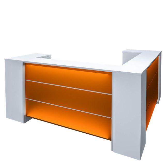 NOVUM Empfangstheke - Inklusive Montageservice | Ecktheke, LED-Beleuchtung, Größe und Farbe wählbar