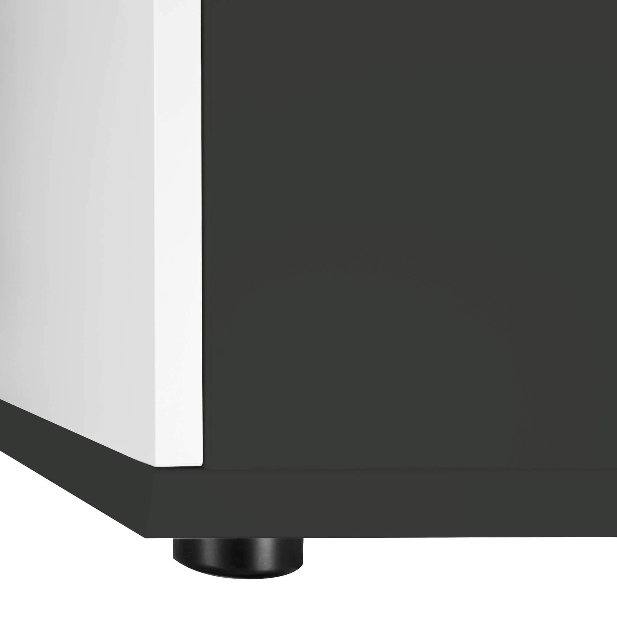 PROFI Aktenschrank abschließbar 3OH Weiß-Anthrazit Schrank Büroschrank Flügeltürenschrank