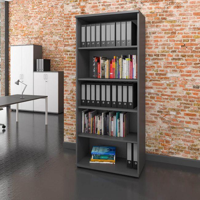 PROFI Bücherragel 5OH Regal Standregal Holzregal Wandregal Schrank Büro Weiß