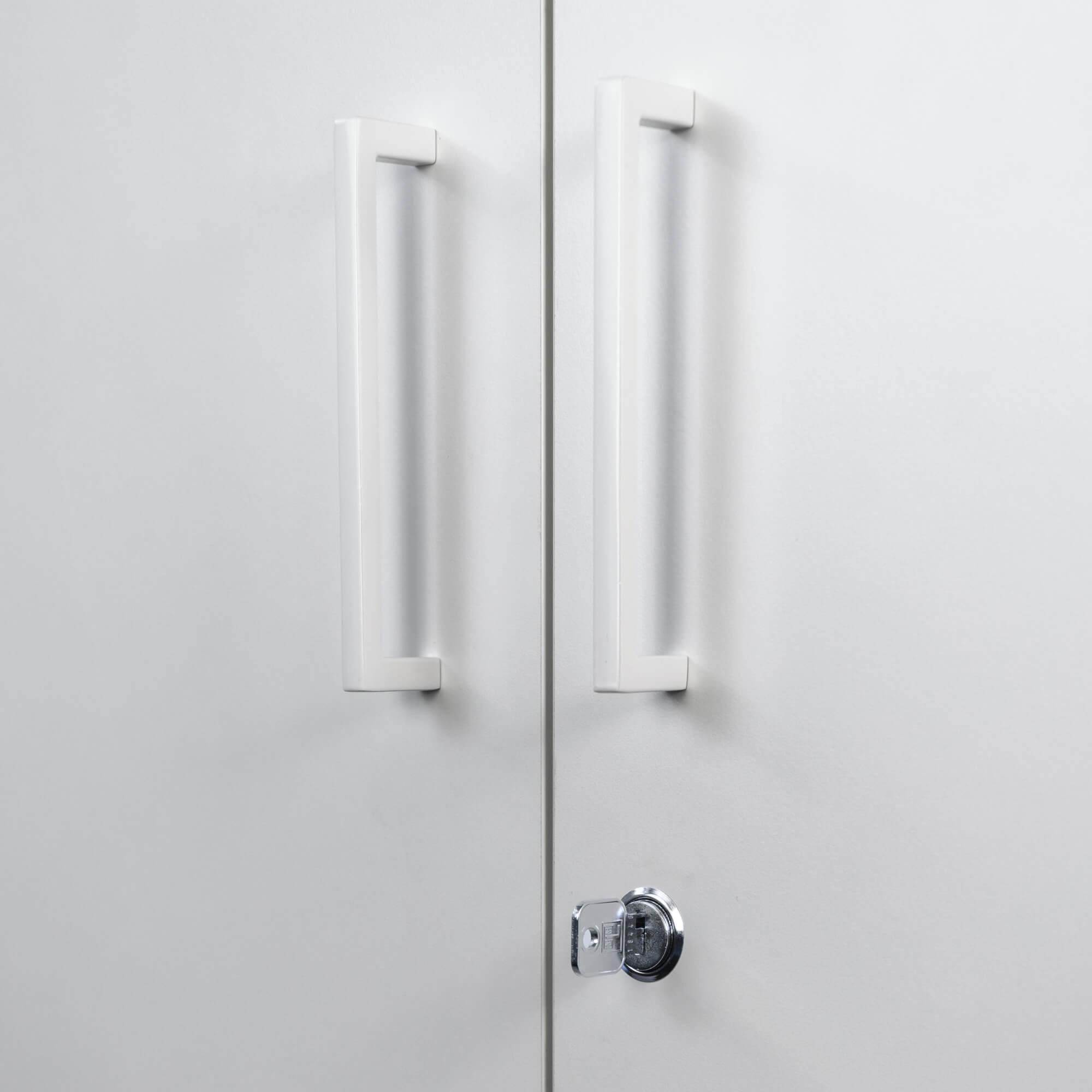 PROFI Aktenschrank abschließbar 5 OH Weiß-Anthrazit Schrank Büroschrank Flügeltürenschrank