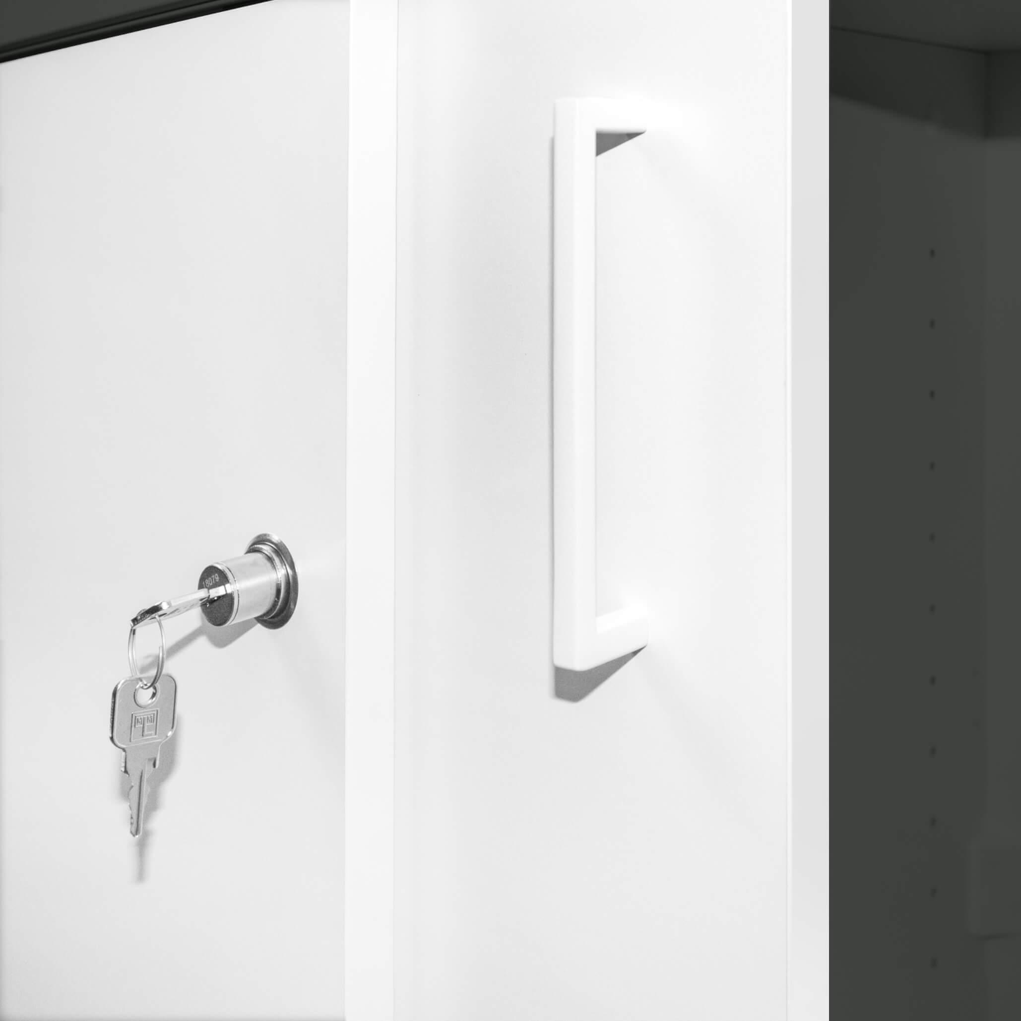 UNI Schiebetürenschrank 1 Meter breit abschließbar 2OH Weiß-Anthrazit Büroschrank